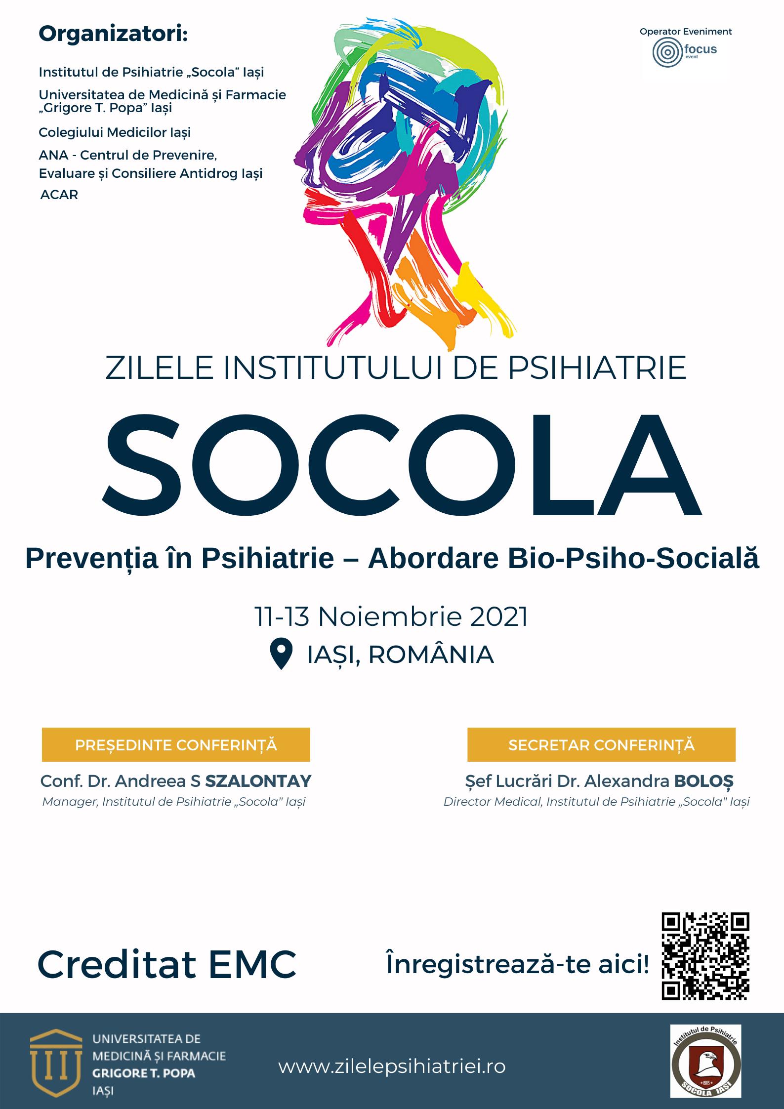 """Afiș Institutul de Psihiatrie """"Socola"""" Iași"""